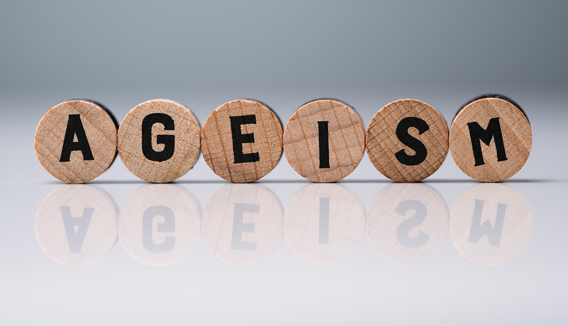 rounded wooden blocks spelling out the word ageism