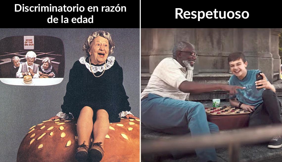 Dos imágenes de comerciales. A la izquierda uno de Wendys y a la derecha uno que muestra de forma respetuosa el envejecimiento.