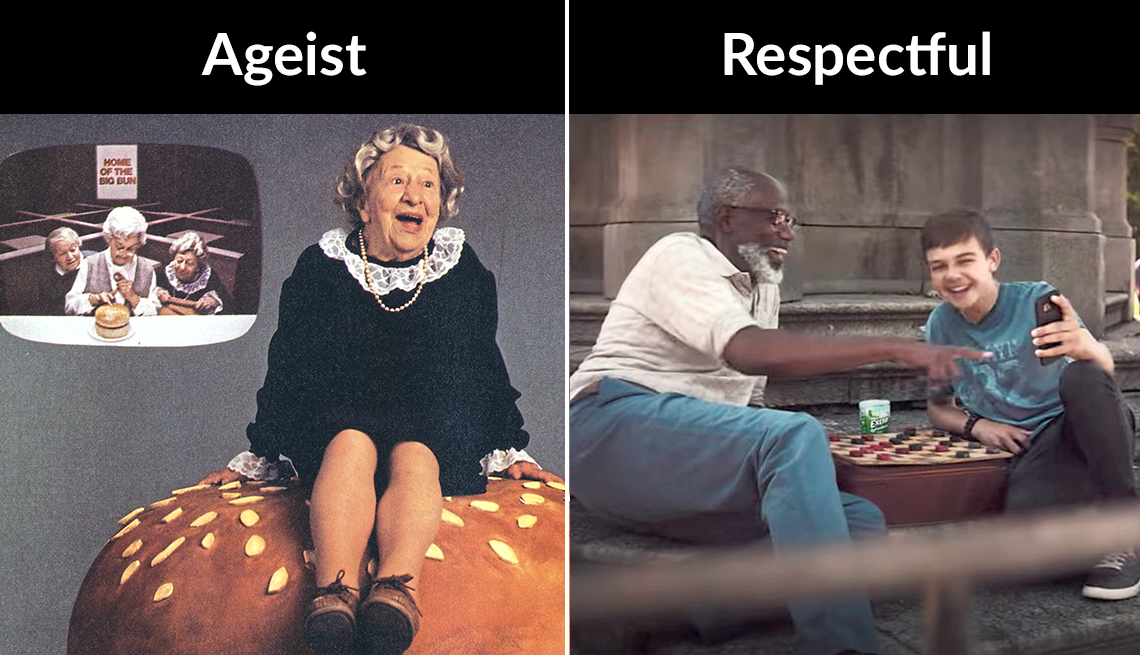 two t v ads on the left the classic wendys wheres the beef which portrayed the old woman as a caricature and the second an ad showing a more realistic and respectful portrayal of an older man friendship