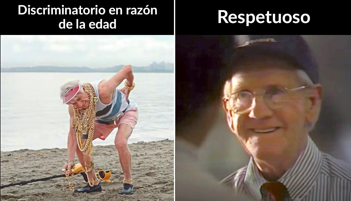 Dos imágenes de comerciales. A la izquierda uno de una persona mayor quejándose de la espalda. Y a la derecha uno que muestra de forma respetuosa el envejecimiento.
