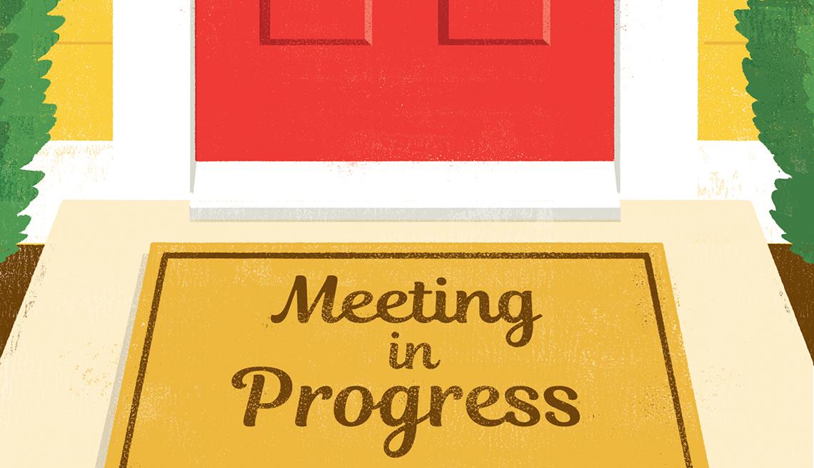 Ilustración de una puerta roja con un tapete con un letretro en inglés que dice reunión en progreso.