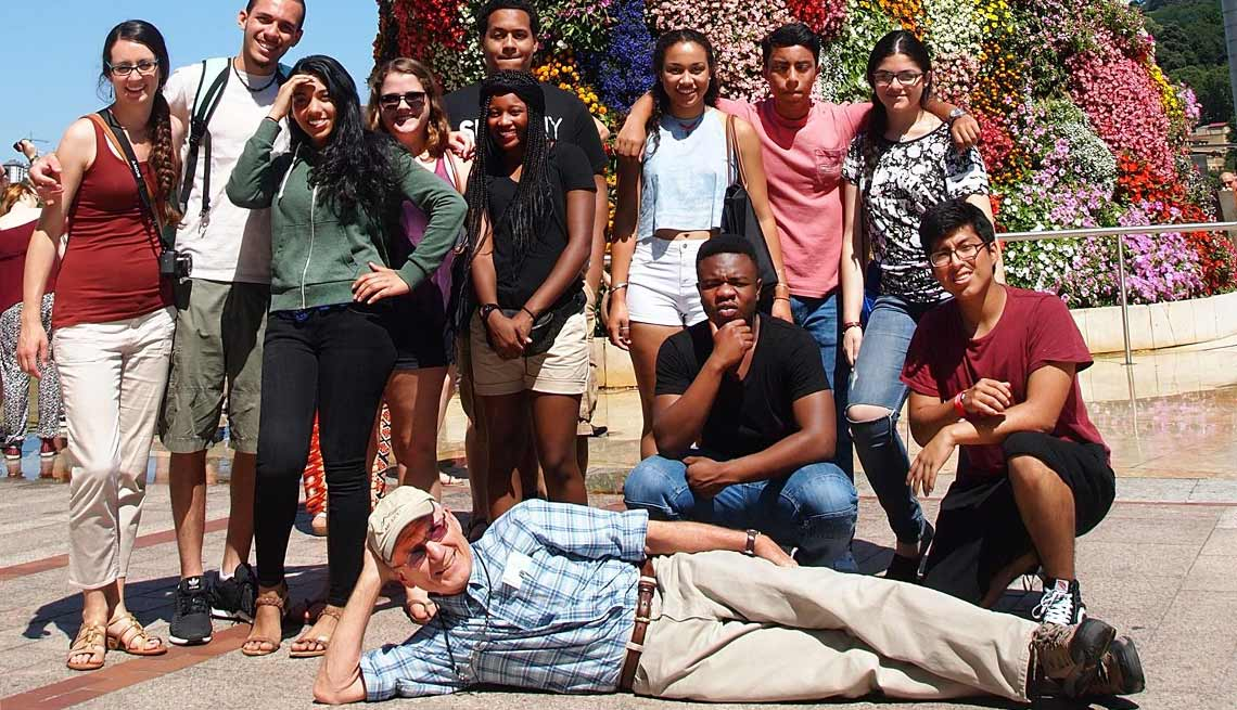 Gary Nees reclines in front of students in 2015 in Spain.