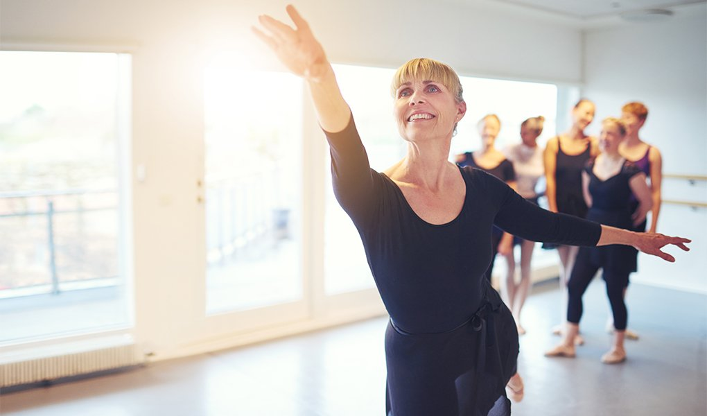 Cheerful woman performing a ballet dance in adult group in class.; Shutterstock ID 700669567; Purchase Order: -