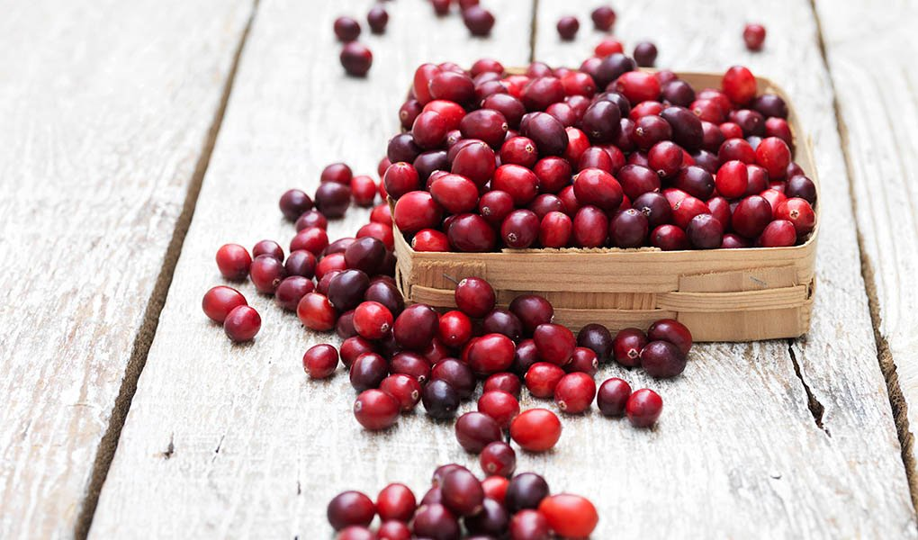 Cranberries in vintage crate on whitewashed wooden table