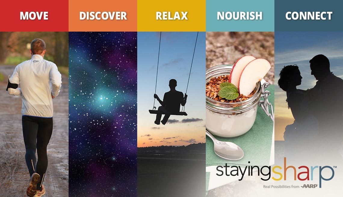 A Staying Sharp slideshow of the move, discover, relax, nourish and connect pillars