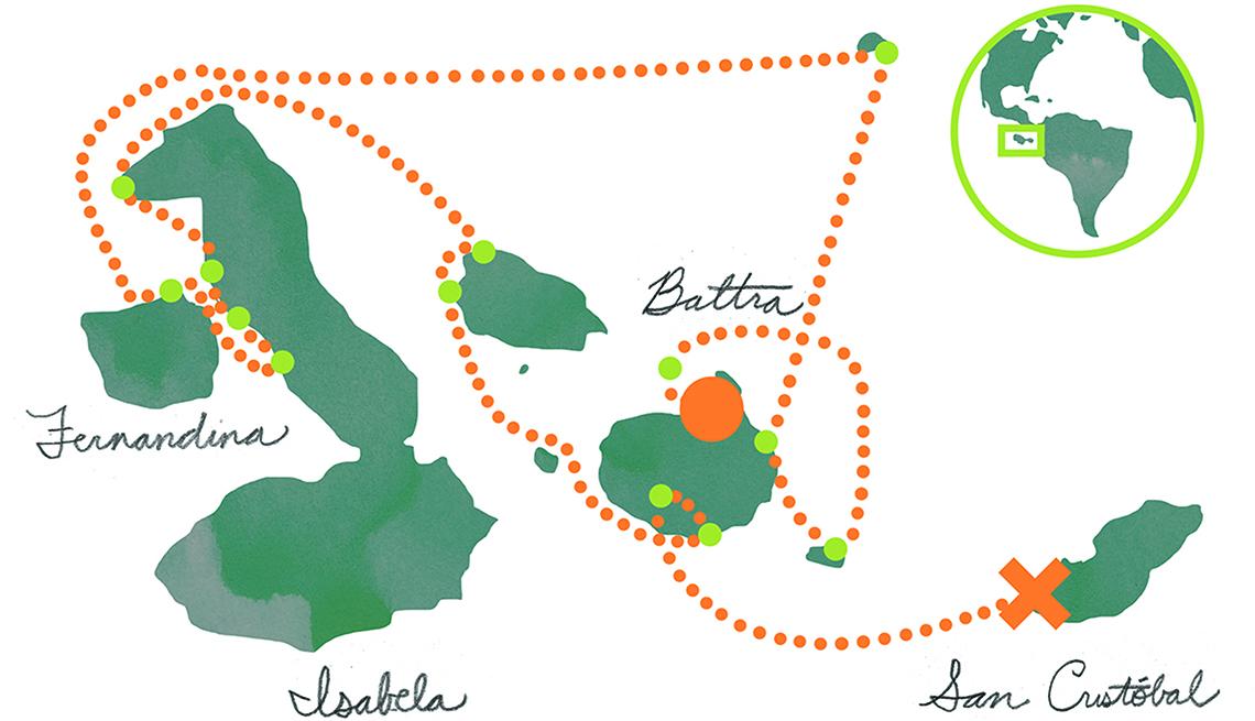 Mapa de las islas Galapagos