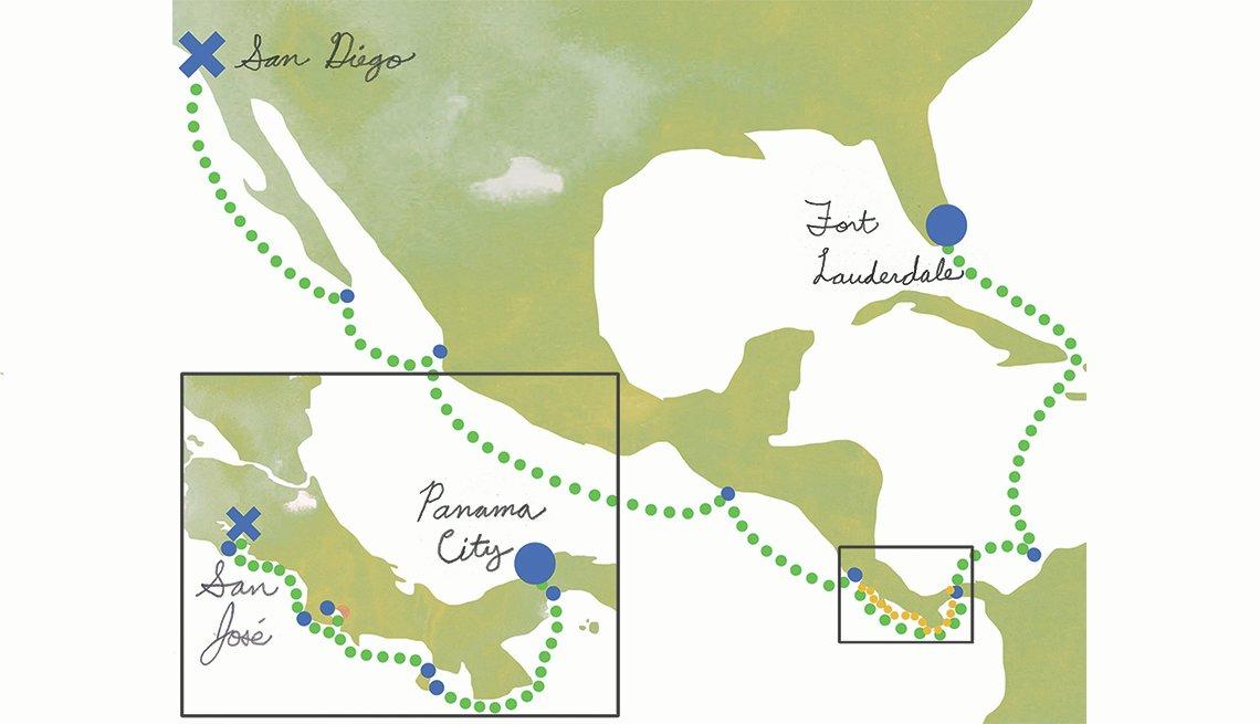 Mapa de Centro América que muestra la ruta de un crucero