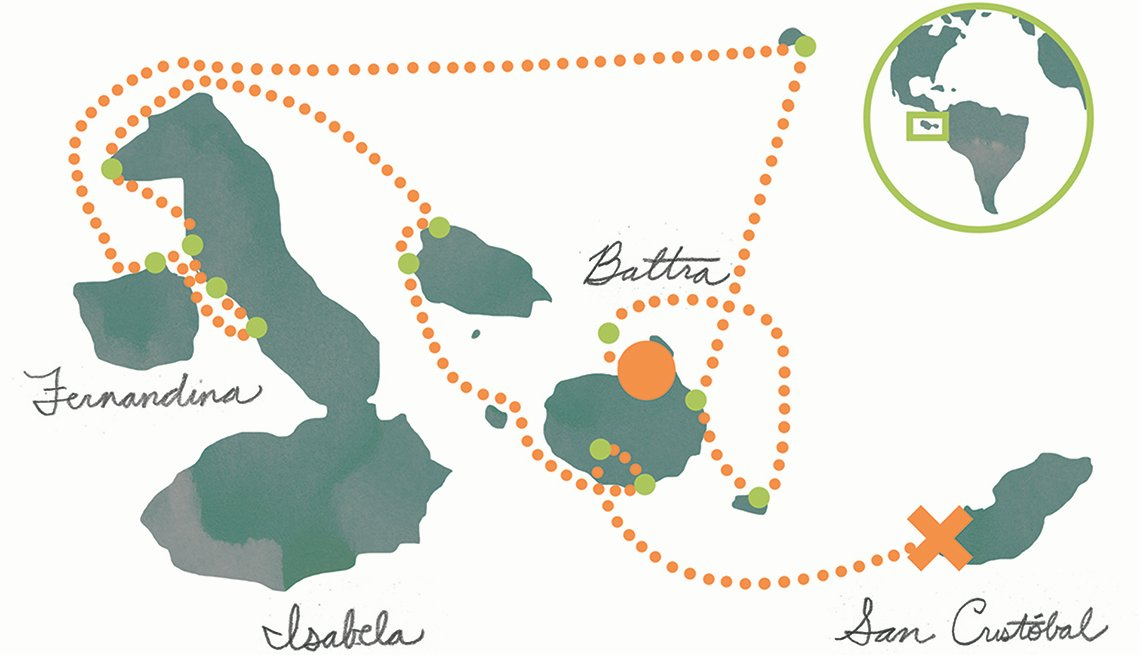 Map of Cruise to Galapagos Islands