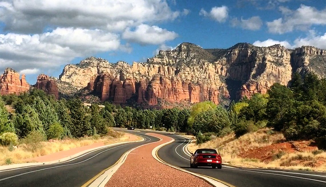 Car driving towards Sedona Arizona