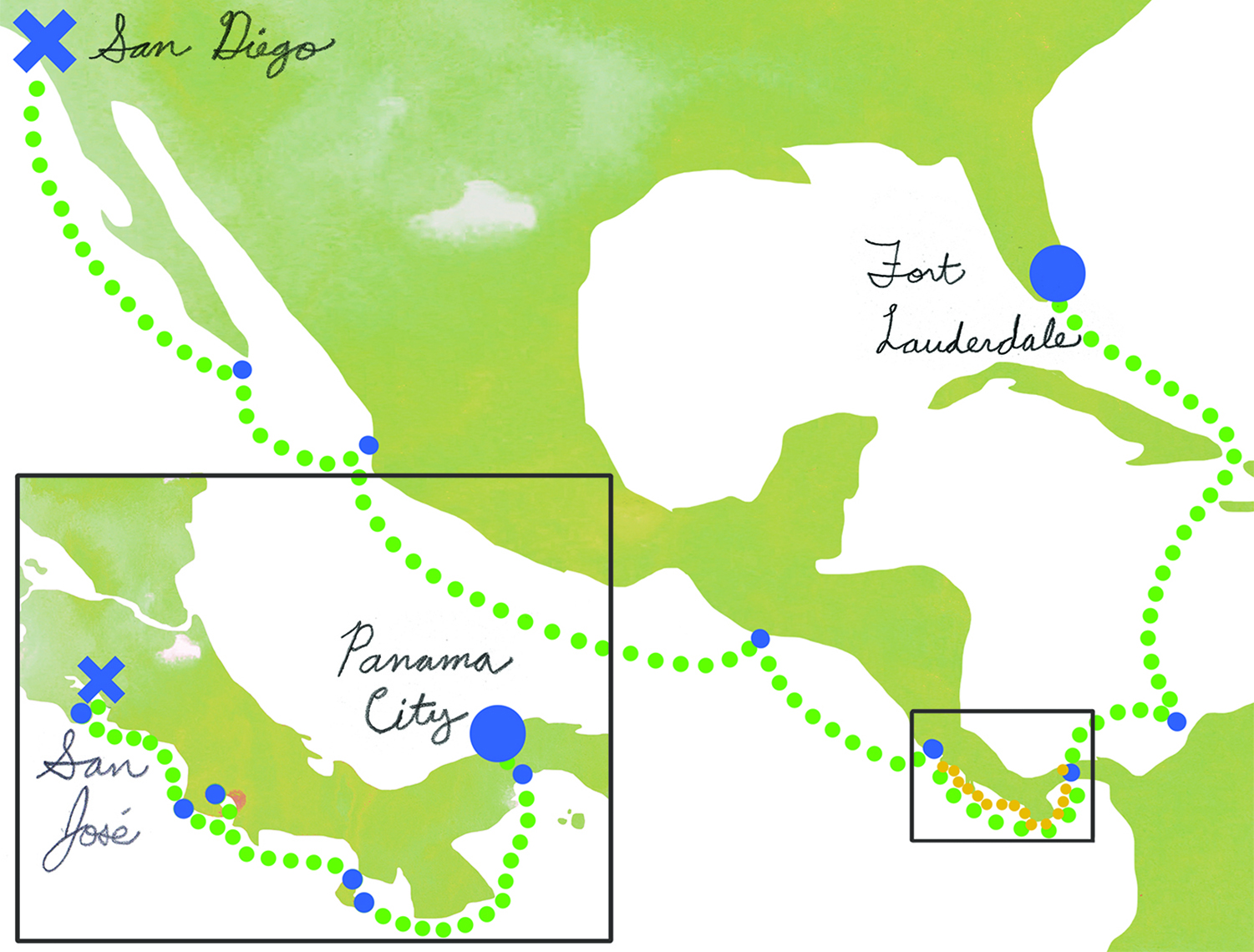 Map of Cruise to Panama Canal