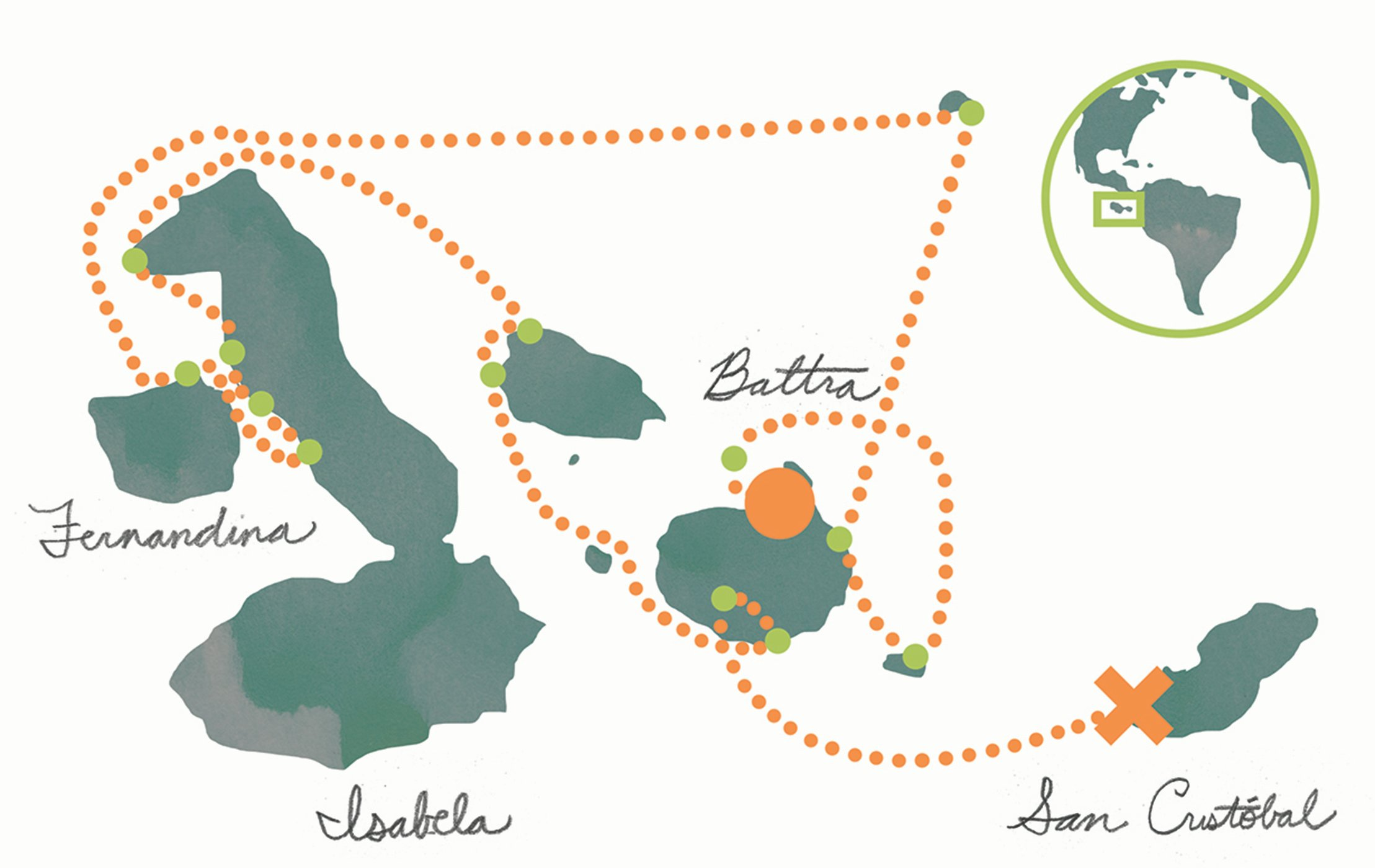 Cruise Map Galapagos Islands