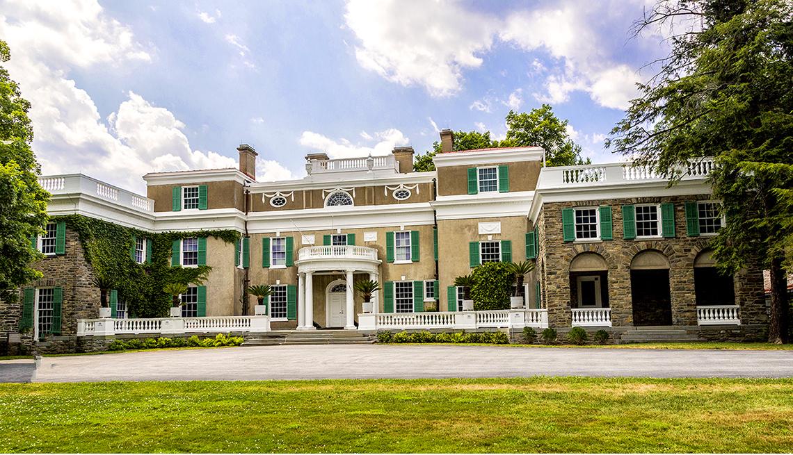 Casa de Franklin D Roosevelt en Hyde Park en Kingston, en el estado de Nueva York.