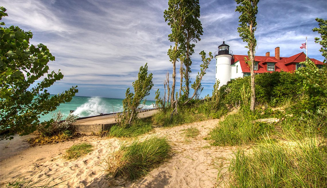 The historical Point Betsie Lighthouse on the shores of Lake Michigan in the Sleeping Bear Dunes.