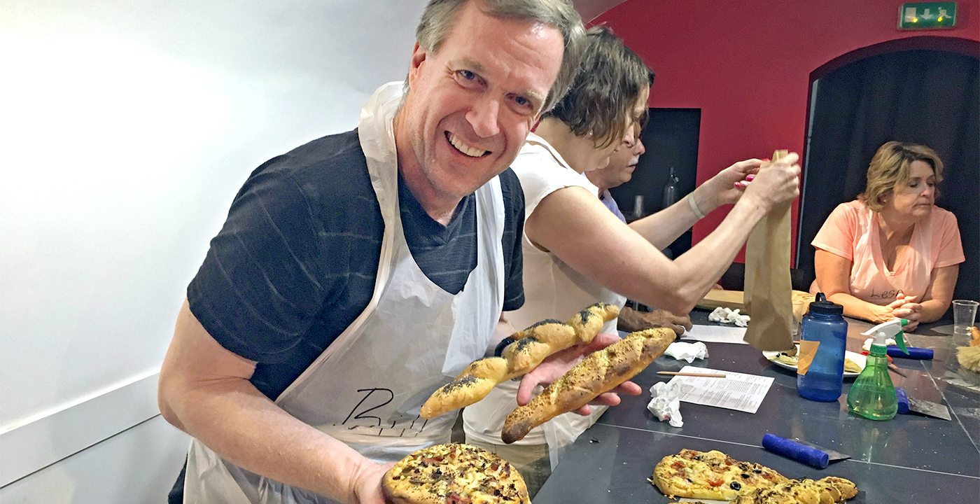 Bill Walsh at a cooking class
