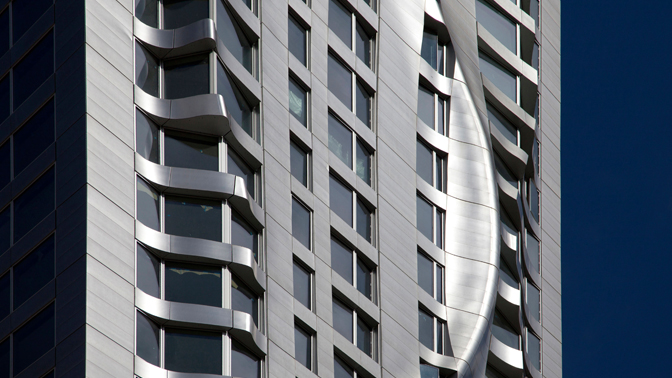 8 Spruce Street is a stainless steel masterpiece.