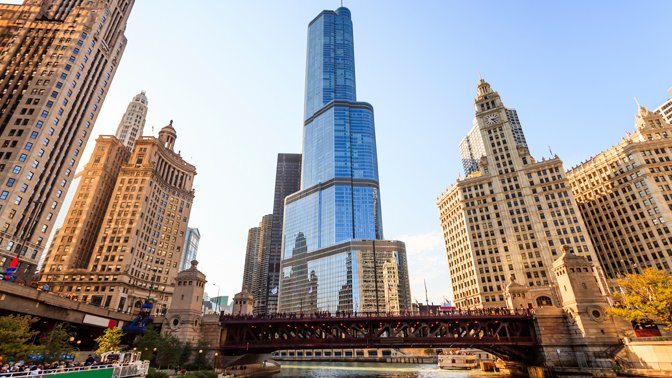 Trump Tower stands out from other buildings in Chicago.