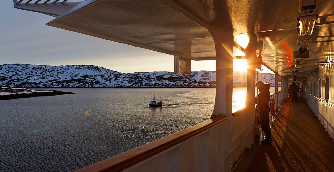 Travelers on a cruise in Kirkenes, Norway.