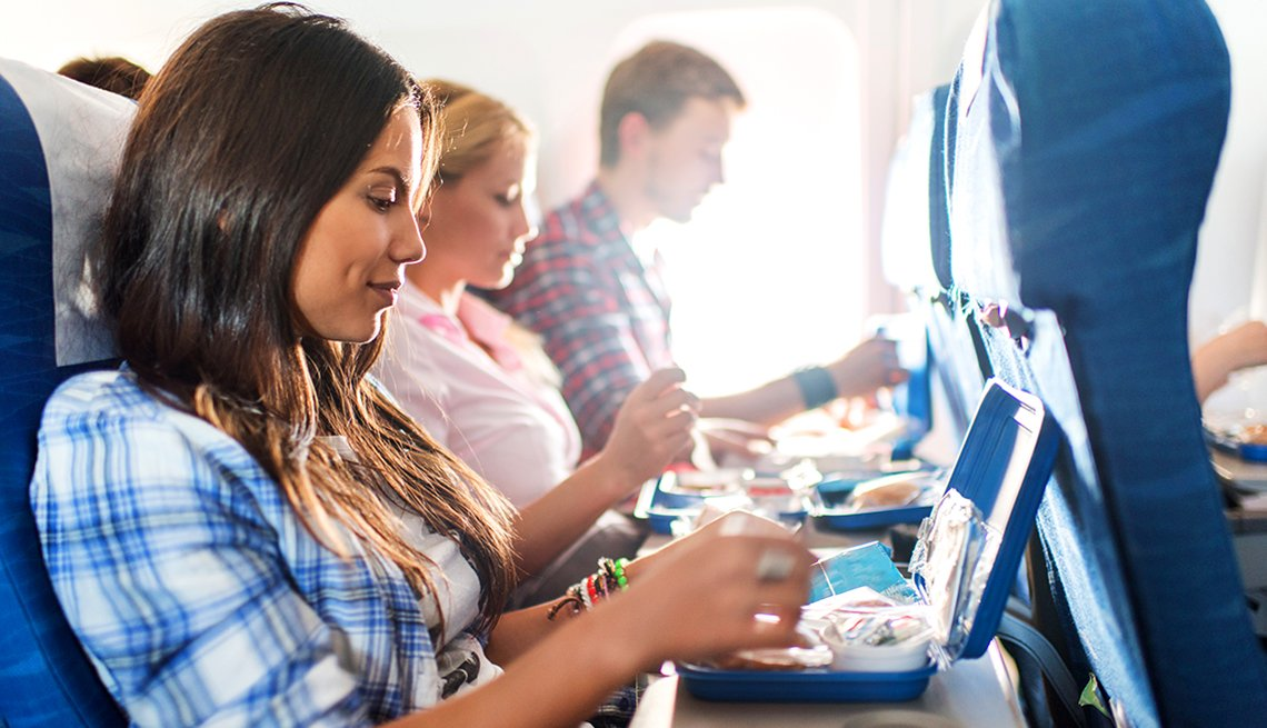 Eating Lunch On Airplane