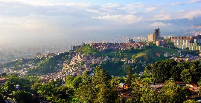 Sun setting over Medellin city in Colombia