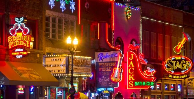 Nightlife in Nashville, Tennessee.
