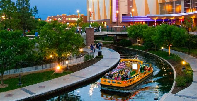 Boat along Oklahoma City's Bricktown