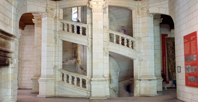 Chateau de Chambord in the Loire Valley, France. Amazing staircases around the world.