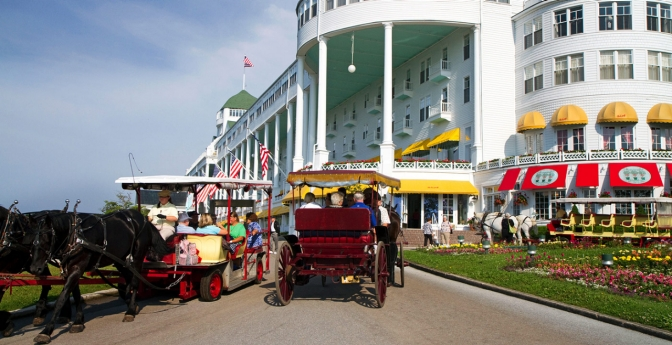 The Grand Hotel seen on Mackinac Island, MI. Great Lakes Vacations.
