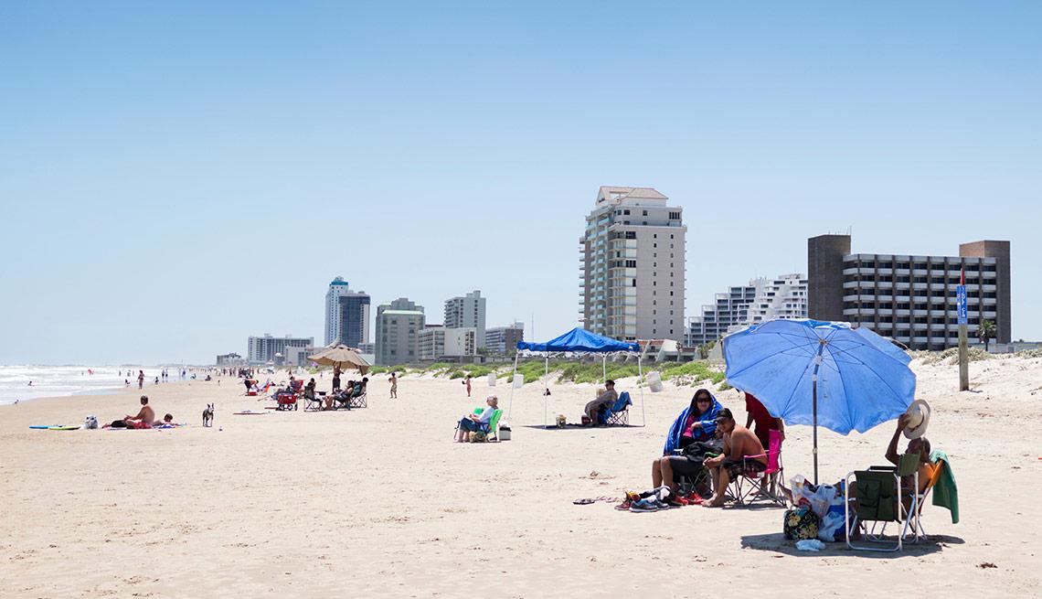 People on beach South Padre Island, Texas.