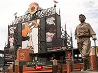 Statue honoring Babe Ruth in front of Camden Yards in Baltimore Maryland