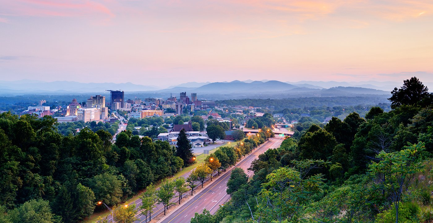 Aerial view of Asheville, NC