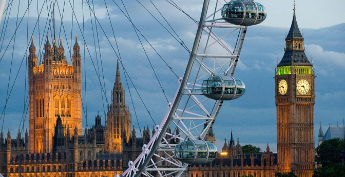 Westminster Palace seen through the London Eye.
