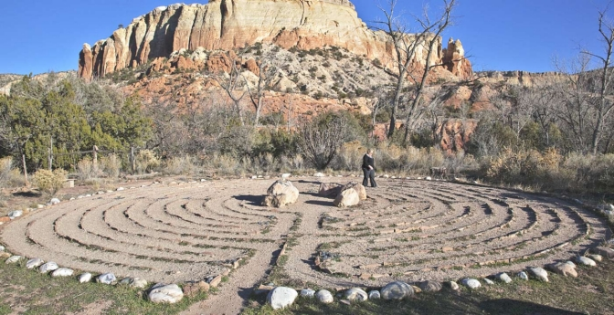 Get lost in thought walking the half-mile stone-lined labyrinth at the Ghost Ranch resort.