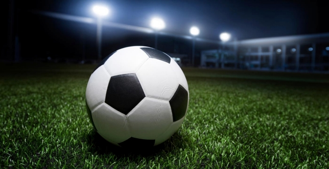 Soccer ball at night.