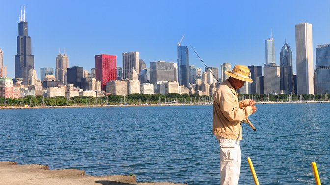 Enjoy an urban escape: Fish in Chicago at Lake Michigan.