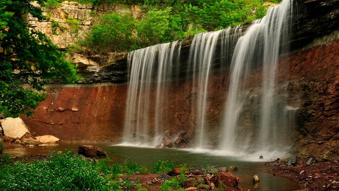 Cowley Lake Waterfall, Dexter, Kansas