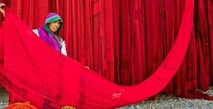 Sari Factory in Rajasthan, India
