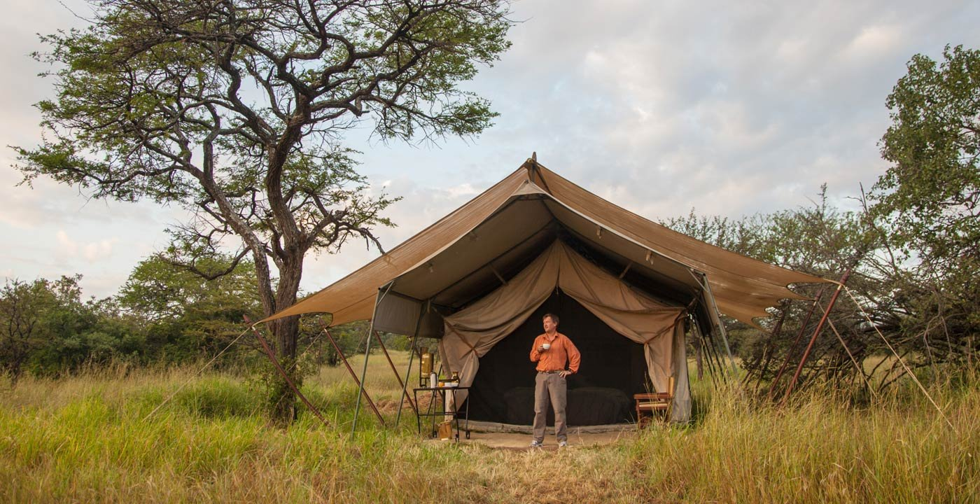 Man Camping at Serengeti